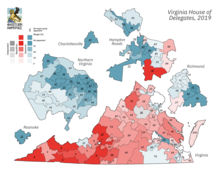 A map of Virginia showing the results of the 2019 Virginia House of Delegates election, with Republican districts in red and Democratic districts in blue, with heavier shading showing a larger margin of victory.