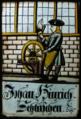 Vitral dum homem afiando o machado numa roda de amolar (séc. XVIII), Palácio da Pena.png