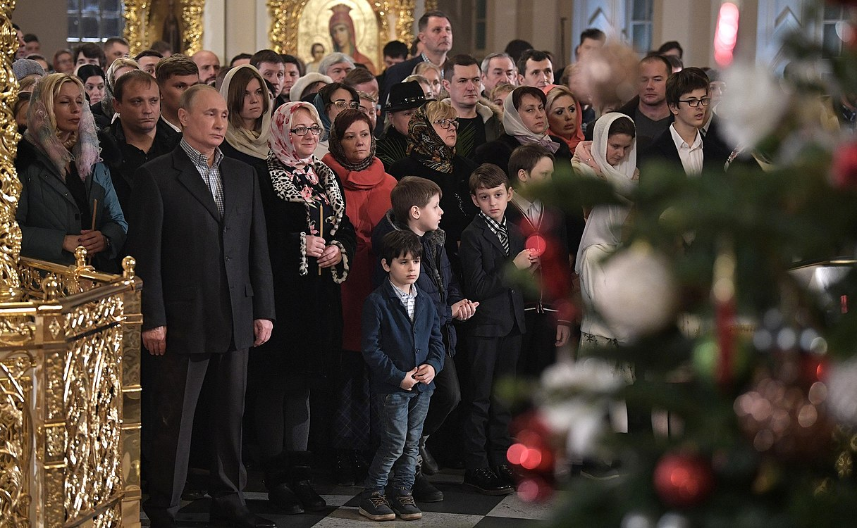 Vladimir Putin at Christmas service at the Church of Simeon and Anna (St. Petersburg; 2018-01-07) 07.jpg