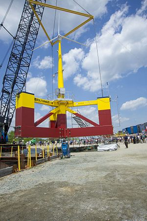 Floating wind turbine - Image: Volturn US Launch in Brewer, ME
