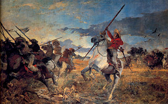 Llanero - Arturo Michelena, Vuelvan Caras.  The painting depicts an incident at the Battle of Las Queseras del Medio, in which José Antonio Páez ordered his llaneros to turn around and attack the Spanish cavalry that was pursuing them.