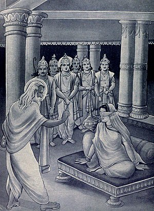 Stri Parva - Stri parva recites the pain and trauma of women after the 18-day war, where they lost their fathers, husbands and sons. Sage Vyasa counseling Gandhari - Kaurava mother who had lost all her sons at war (shown).