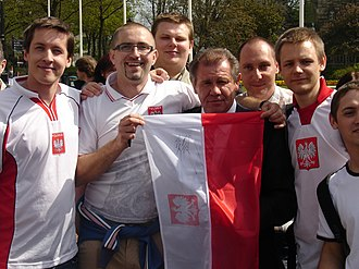 Włodzimierz Smolarek - Smolarek behind the Polish flag