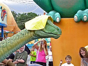 Animatronics - Lucky the Dinosaur, a free roaming audio animatronic at Walt Disney World in 2005, was the first designed to walk on land.