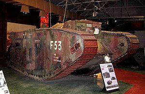 "6th Royal Tank Regiment - Mark II tank F53 ""The Flying Scotsman"", formerly of F Battalion Tank Corps, at Bovington Tank Museum"