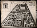 Wadham College, Oxford; aerial panoramic view. Etching by W. Wellcome V0014181.jpg