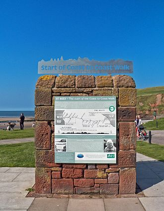 Coast to Coast Walk - The start of the Wainwright Coast to Coast Walk at St Bees Seacote beach. Sign refurbished 2013 and stainless steel start banner added; a joint project between Wainwright Society and St Bees Parish Council.