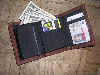 Wallet - A trifold wallet with pockets for notes and cards, and a window to display an identification card