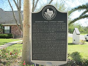 Wallis, Texas - Image: Wallis TX Guardian Angel Historic Marker