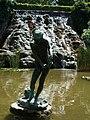 Waterfall. 'The Shrimping boy' statue (Miklós Ligeti, 1954). - Margaret Island, Budapest, Hungary.JPG