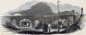 West London Railway - The flat crossing of the West London Railway and the Great Western Railway in 1844