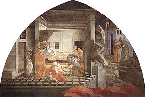 Stories of St. Stephen and St. John the Baptist - Lunette with the Birth of St. Stephen.
