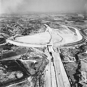 Whittier Narrows Dam - Dam in 1957, just prior to completion
