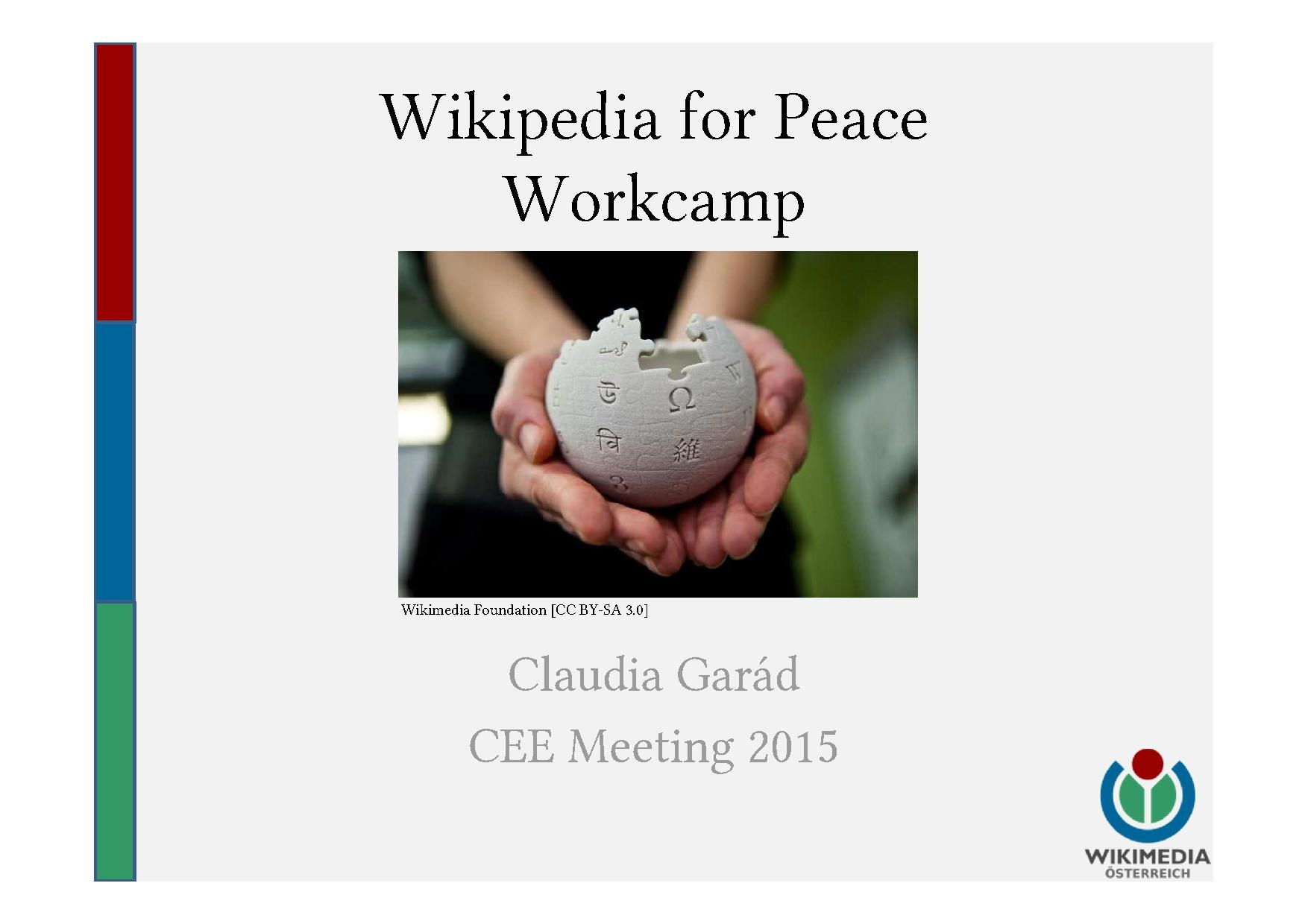 Presentation on the Wikipedia for Peace Workcamp in Austria in the context of the CEE meeting 2015