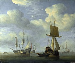 Willem van de Velde the Younger: An English Vessel and Dutch Ships Becalmed