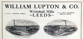 Lupton family - In 1921, Frank Lupton owned the  family mills  and textile manufacturing firm  William  Lupton and Co. Est. in 1773.