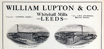 In 1921, Frank Lupton owned the family mills and textile manufacturing firm William Lupton and Co. Est. in 1773.[86]