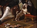 William hogarth, marriage a-la-mode, 1743 ca., 02 il tete-à-tete 9 cane.jpg