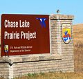 Wilson's Snipe on Chase Lake Prairie Project Sign (7047707179).jpg
