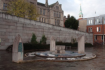 Hampshire County Council offices and Jubilee Fountain Winchester Castle.jpg