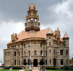 The Wise County Courthouse in Decatur. The Romanesque Revival structure was added to the National Register of Historic Places in 1976.