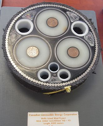 Submarine power cable - Cross section of the submarine power cable used in Wolfe Island Wind Farm.