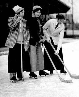 Women playing hockey outside Varsity Arena Toronto