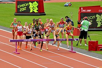 Steeplechase at the Olympics - Image: Womens 3000m Steeplechasers Take the Hurdle