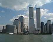 A view of the World Trade Center, World Financial Center, and Battery Park City from the Hudson River on August 26, 2000.