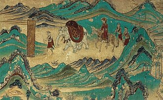 Nalanda - 8th century Dunhuang cave mural depicts Xuanzang returning from India.