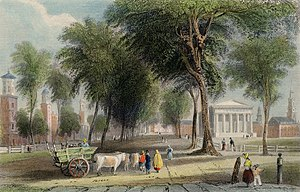 "William Henry Bartlett - American Scenery, 2 vols. 1840, W. H. Bartlett, ""YALE COLLEGE"" (Newhaven), J. Sands. London, Published for the Proprietors, by Geo. Virtue, 26, Ivy Lane, 1838."