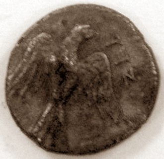 "Jew (word) - Obverse of a Jewish silver Yehud coin from the Persian era, with falcon or eagle and Aramaic inscription ""יהד"" ""Yehud"" (Judaea)"