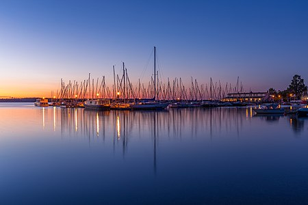 Yachts at Zoebigker harbour (lake Cospuden), Saxony, Germany