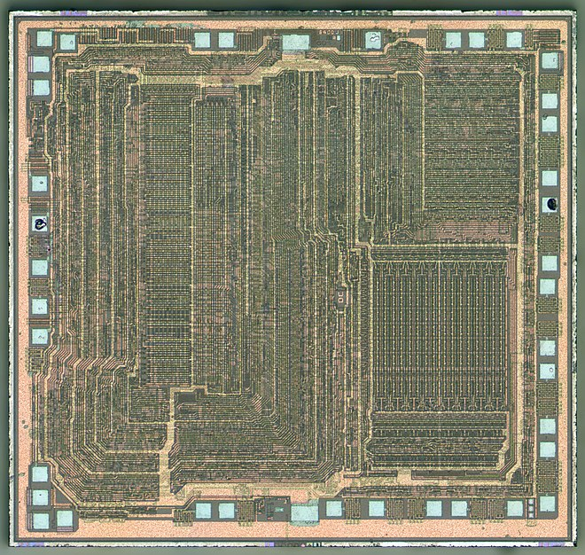 Photo of the original Zilog Z80 microprocessor design in depletion-load nMOS. Total die size is 3545x3350 um. (This actual chip manufactured in 1990.) Z80-Z0840004PSC-HD.jpg