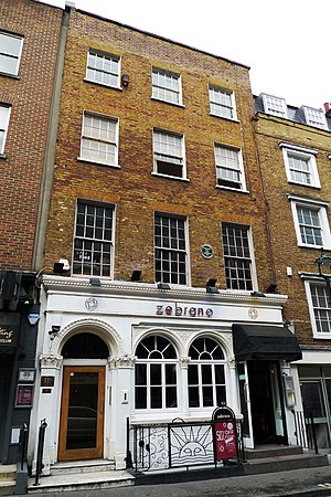 The Establishment (club) - The site of the Establishment, now home to Zebrano's. The building has a green plaque commemorating Peter Cook's co-founding of the Establishment.