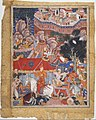 """Assad Ibn Kariba Launches a Night Attack on the Camp of Malik Iraj"", Folio from a Hamzanama (The Adventures of Hamza) MET DT4834.jpg"