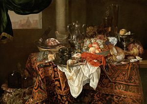 Abraham van Beijeren - Still-Life with Landscape, 1650s