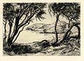 'Hanauma Bay' by Huc-Mazelet Luquiens, 1927, drypoint.JPG