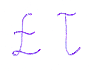 Ł - Upright cursive Ł and ł letters
