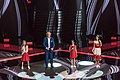 Тали Купер, Валерий Меладзе, Олеся Машейко и Анастасия Гладилина на финале Голос. Дети 5.jpg
