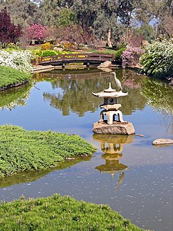 An egret rests on a stone lantern in the upper lake of the Japanese Garden in Cowra, NSW, Australia