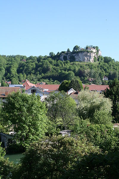 "Ornans (Doubs - France), the Loue (river) and part of town at the foot of the cliff of ""Castle"""