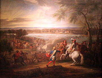 French invasion of the Netherlands, which Louis XIV initiated in 1672, starting the Franco-Dutch War 1680 van der Meulen Louis XIV bei Lobith anagoria.JPG