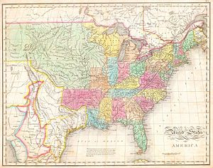 1820s - John Melish map of the United States circa 1822