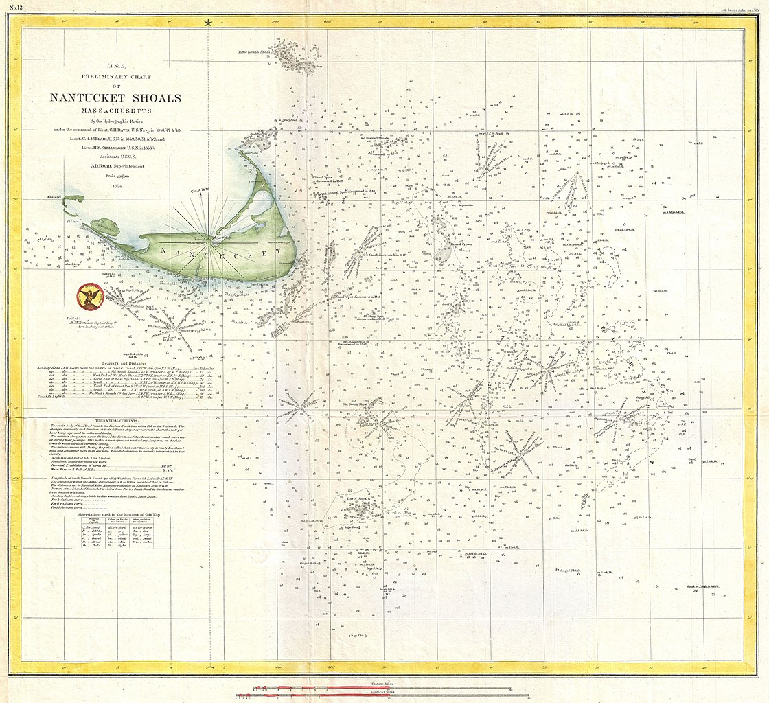 Sea Charts: 1854 U.S. Coast Survey Nautical Chart or Map of Nantucket ,Chart