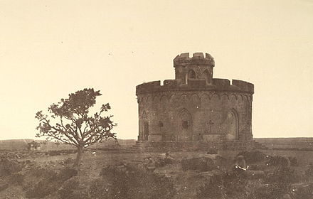 The Flagstaff Tower, Delhi, where the European survivors of the rebellion gathered on 11 May 1857; photographed by Felice Beato 1858 Delhi flag tower.jpg