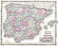 1862 Johnson Map of Spain and Portugal - Geographicus - SpainPortugal-j-62.jpg