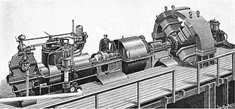 Charles Algernon Parsons - Parsons' first 1 MW turbogenerator built for the city of Elberfeld, Germany in 1899. It produced single phase electricity at 4 kV.