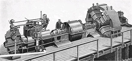 Parsons' first 1 MW turbogenerator built for the city of Elberfeld, Germany in 1899. It produced single phase electricity at 4 kV. 1900 Elberfeld 1MW Generator.jpg