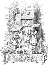 Elaborate ink-on-paper drawing of Hansel and Gretel and a witch